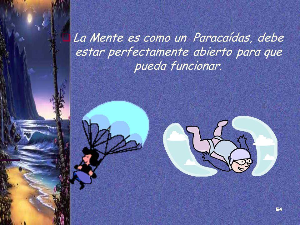 54 La Mente es como un Paracaídas, debe estar perfectamente abierto para que pueda funcionar.