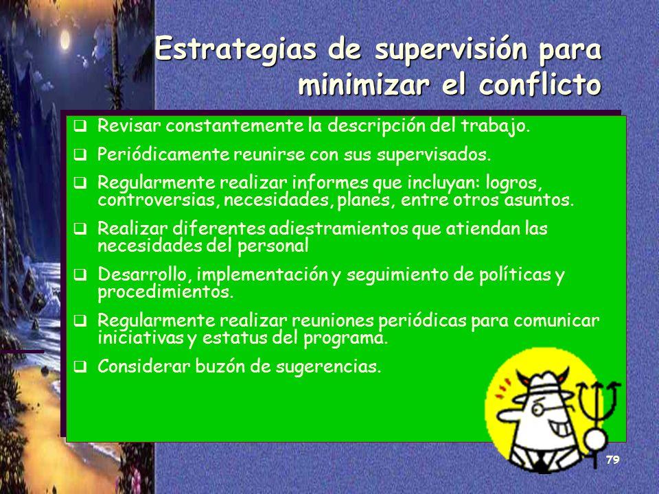 79 Estrategias de supervisión para minimizar el conflicto Revisar constantemente la descripción del trabajo. Periódicamente reunirse con sus supervisa