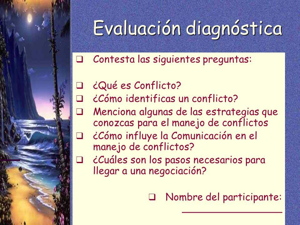 8 Evaluación diagnóstica Contesta las siguientes preguntas: ¿Qué es Conflicto? ¿Cómo identificas un conflicto? Menciona algunas de las estrategias que