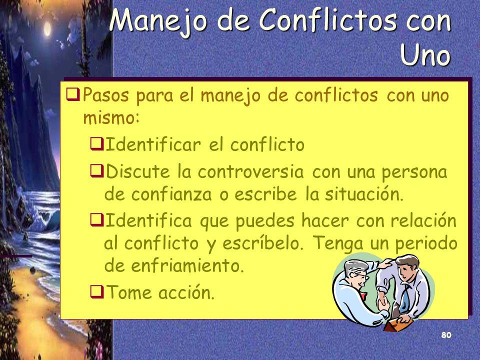 80 Manejo de Conflictos con Uno Pasos para el manejo de conflictos con uno mismo: Identificar el conflicto Discute la controversia con una persona de