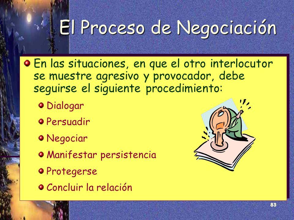 83 El Proceso de Negociación En las situaciones, en que el otro interlocutor se muestre agresivo y provocador, debe seguirse el siguiente procedimient