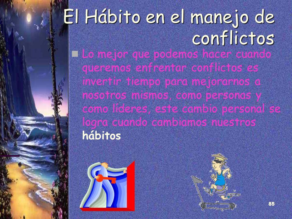 85 El Hábito en el manejo de conflictos Lo mejor que podemos hacer cuando queremos enfrentar conflictos es invertir tiempo para mejorarnos a nosotros