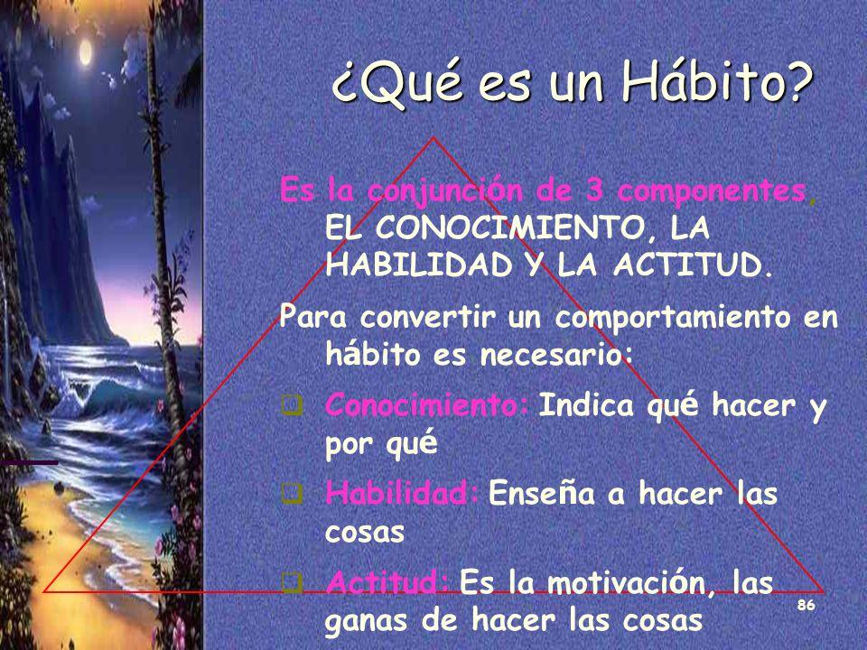 86 ¿Qué es un Hábito? Es la conjunci ó n de 3 componentes, EL CONOCIMIENTO, LA HABILIDAD Y LA ACTITUD. Para convertir un comportamiento en h á bito es