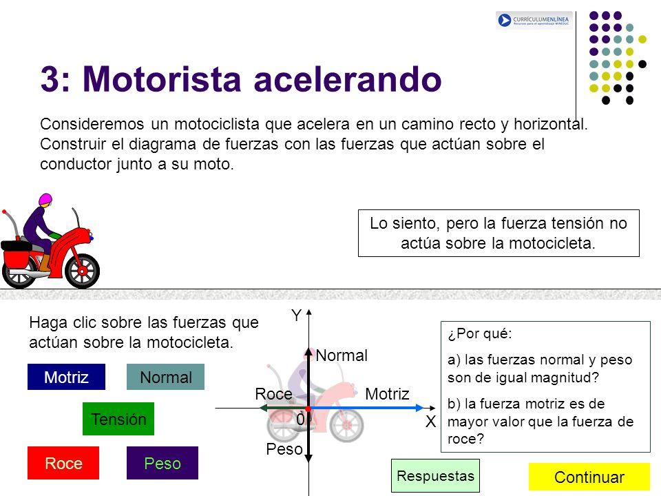 X Y 0 3: Motorista acelerando Consideremos un motociclista que acelera en un camino recto y horizontal. Construir el diagrama de fuerzas con las fuerz