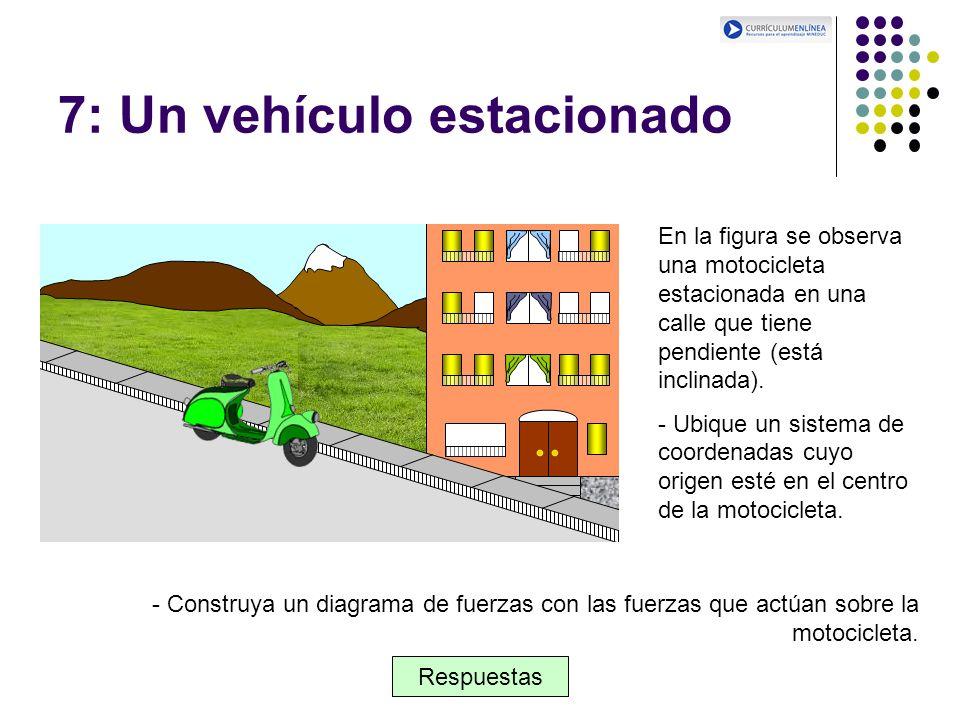 7: Un vehículo estacionado En la figura se observa una motocicleta estacionada en una calle que tiene pendiente (está inclinada). - Ubique un sistema