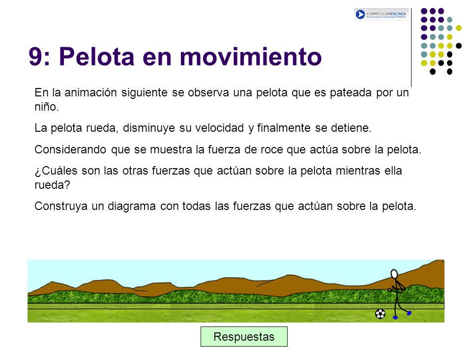 9: Pelota en movimiento En la animación siguiente se observa una pelota que es pateada por un niño. La pelota rueda, disminuye su velocidad y finalmen