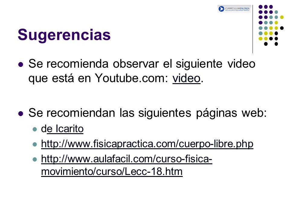 Sugerencias Se recomienda observar el siguiente video que está en Youtube.com: video.video Se recomiendan las siguientes páginas web: de Icaritoe Icar