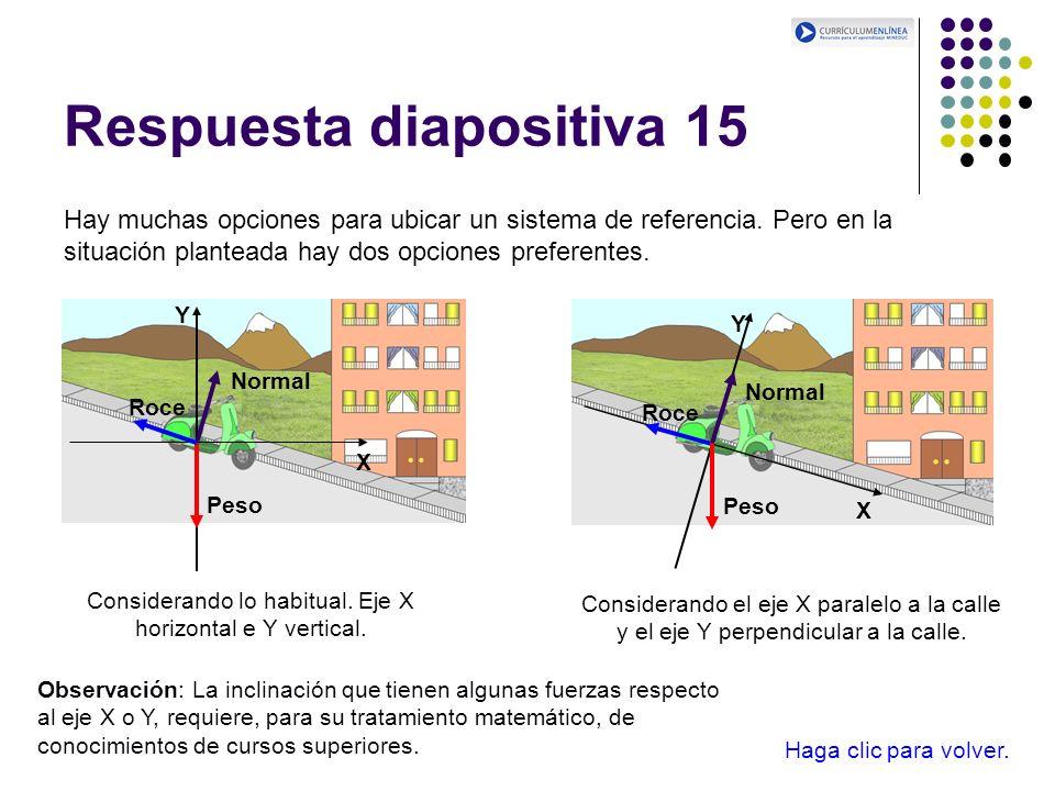 Respuesta diapositiva 15 Hay muchas opciones para ubicar un sistema de referencia. Pero en la situación planteada hay dos opciones preferentes. Consid