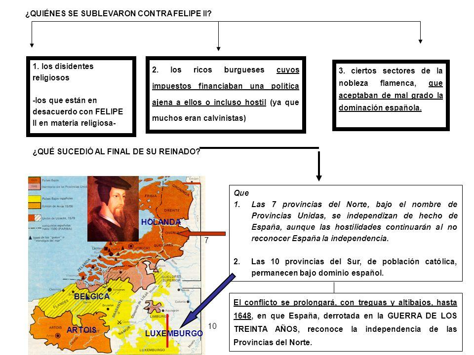 Que 1.Las 7 provincias del Norte, bajo el nombre de Provincias Unidas, se independizan de hecho de España, aunque las hostilidades continuarán al no r