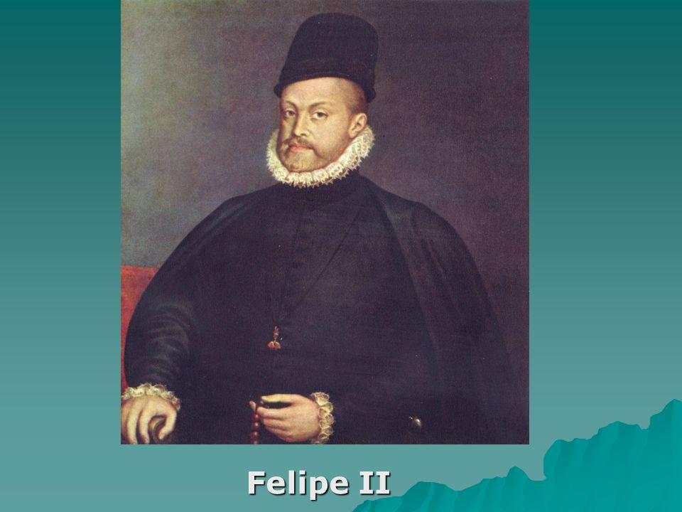 Felipe II llamado El Prudente (Valladolid, 21 de mayo de 1527 – San Lorenzo de El Escorial, 13 de septiembre de 1598), fue Rey de España desde el 15 de enero de 1556 hasta su muerte, de Nápoles y Sicilia desde 1554 y de Portugal y los Algarves (como Felipe I) desde 1580, realizando una ansiada unión dinástica con Portugal, que duró 60 años.