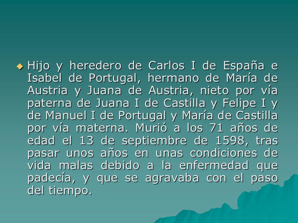 Hijo y heredero de Carlos I de España e Isabel de Portugal, hermano de María de Austria y Juana de Austria, nieto por vía paterna de Juana I de Castil