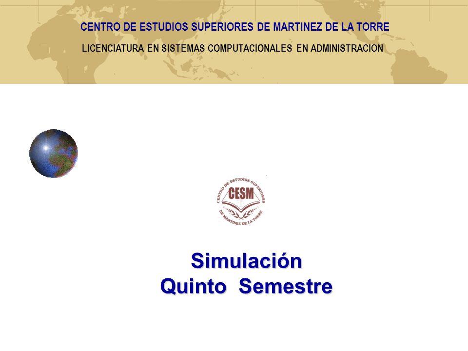 LICENCIATURA EN SISTEMAS COMPUTACIONALES EN ADMINISTRACION Simulación Quinto Semestre CENTRO DE ESTUDIOS SUPERIORES DE MARTINEZ DE LA TORRE