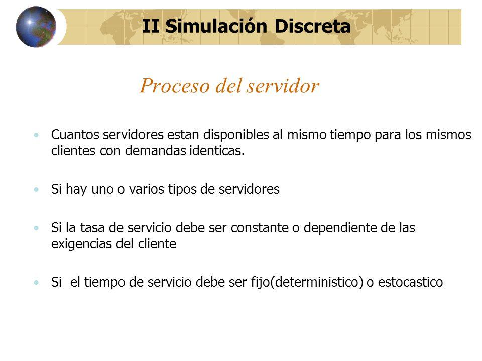Proceso del servidor Cuantos servidores estan disponibles al mismo tiempo para los mismos clientes con demandas identicas. Si hay uno o varios tipos d