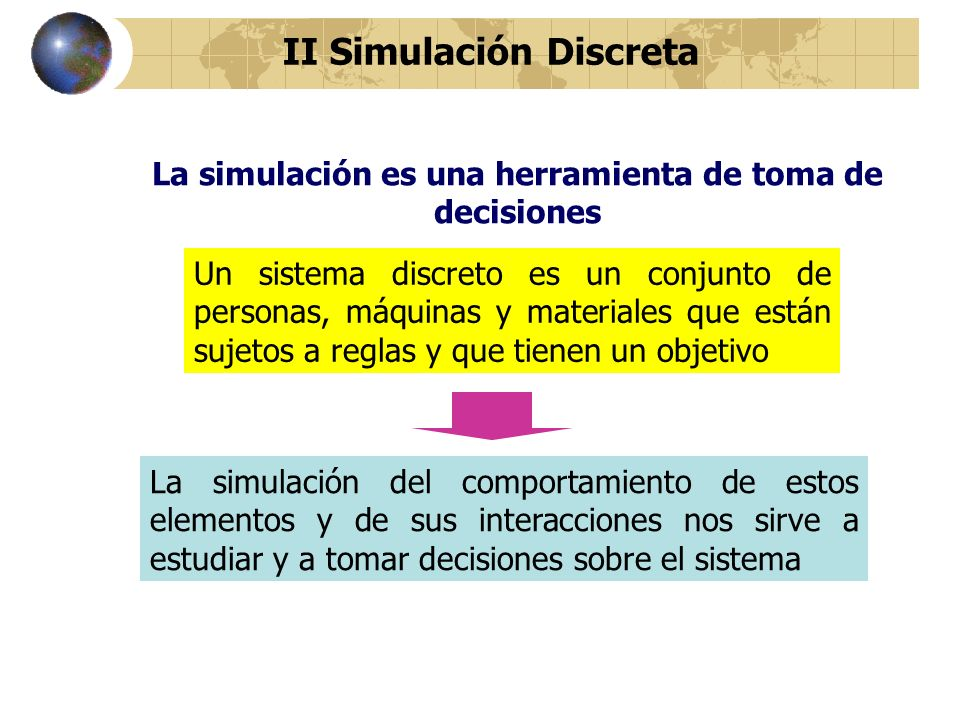 La simulación es una herramienta de toma de decisiones Un sistema discreto es un conjunto de personas, máquinas y materiales que están sujetos a regla