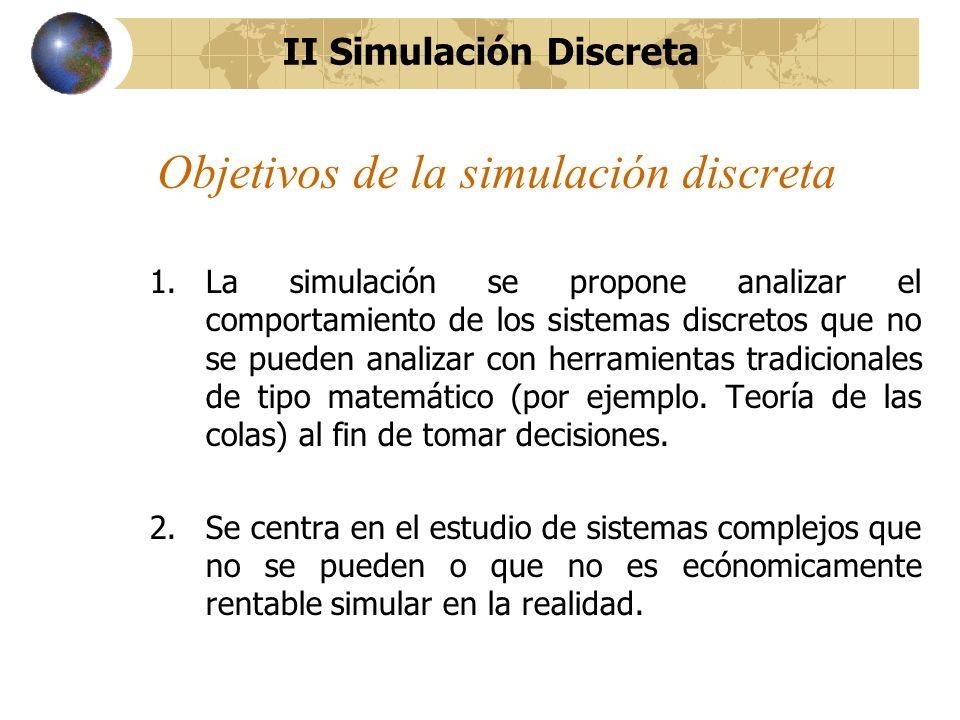 Objetivos de la simulación discreta 1.La simulación se propone analizar el comportamiento de los sistemas discretos que no se pueden analizar con herr