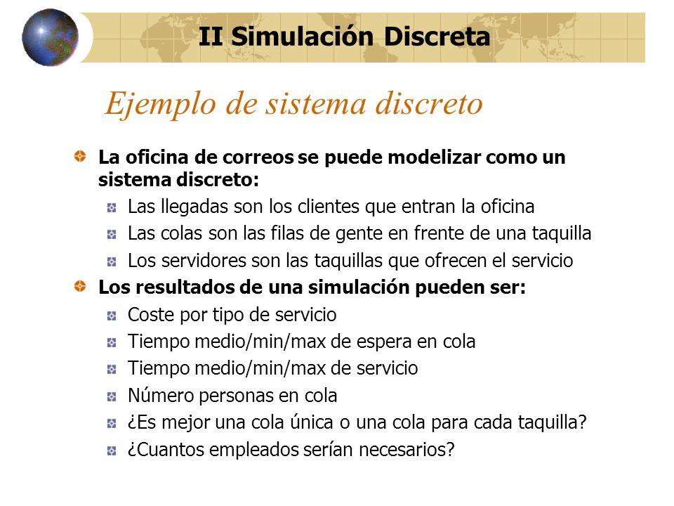 Aplicaciones de la simulación La simulación se puede aplicar durante todas las fases de diseño de un sistema discreto, desde el diseño inicial hasta el diseño detallado incluyendo la explotación y el mantenimiento del sistema.