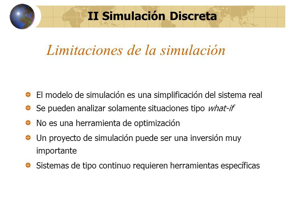 Limitaciones de la simulación El modelo de simulación es una simplificación del sistema real Se pueden analizar solamente situaciones tipo what-if No