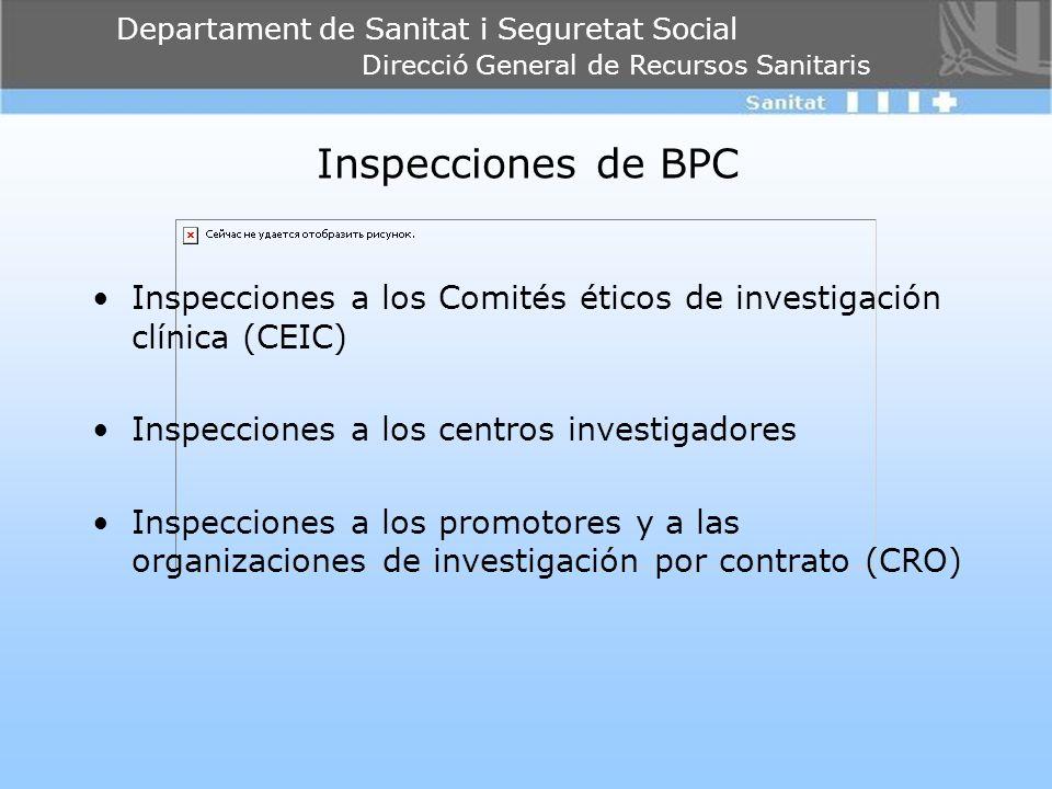 Departament de Sanitat i Seguretat Social Direcció General de Recursos Sanitaris Inspecciones de BPC Inspecciones a los Comités éticos de investigació