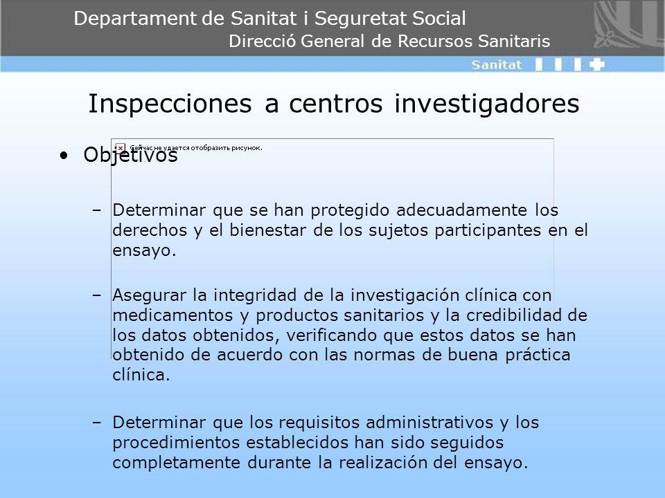 Departament de Sanitat i Seguretat Social Direcció General de Recursos Sanitaris Inspecciones a centros investigadores Objetivos –Determinar que se ha