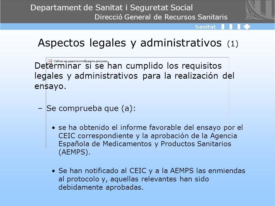 Departament de Sanitat i Seguretat Social Direcció General de Recursos Sanitaris Aspectos legales y administrativos (1) Determinar si se han cumplido