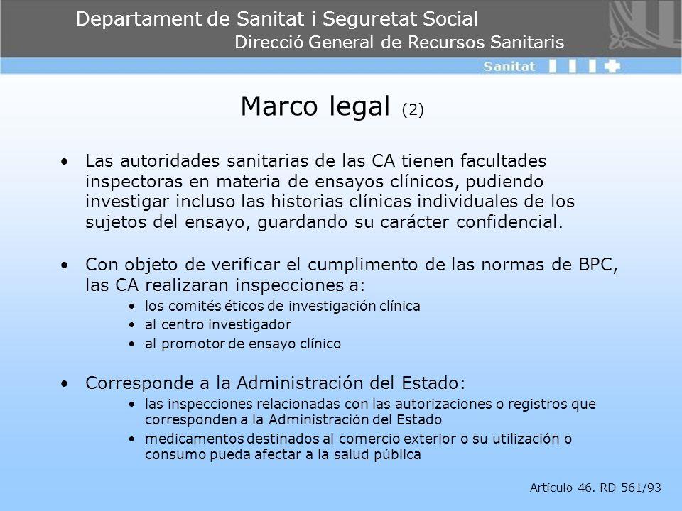 Departament de Sanitat i Seguretat Social Direcció General de Recursos Sanitaris Marco legal (2) Las autoridades sanitarias de las CA tienen facultade
