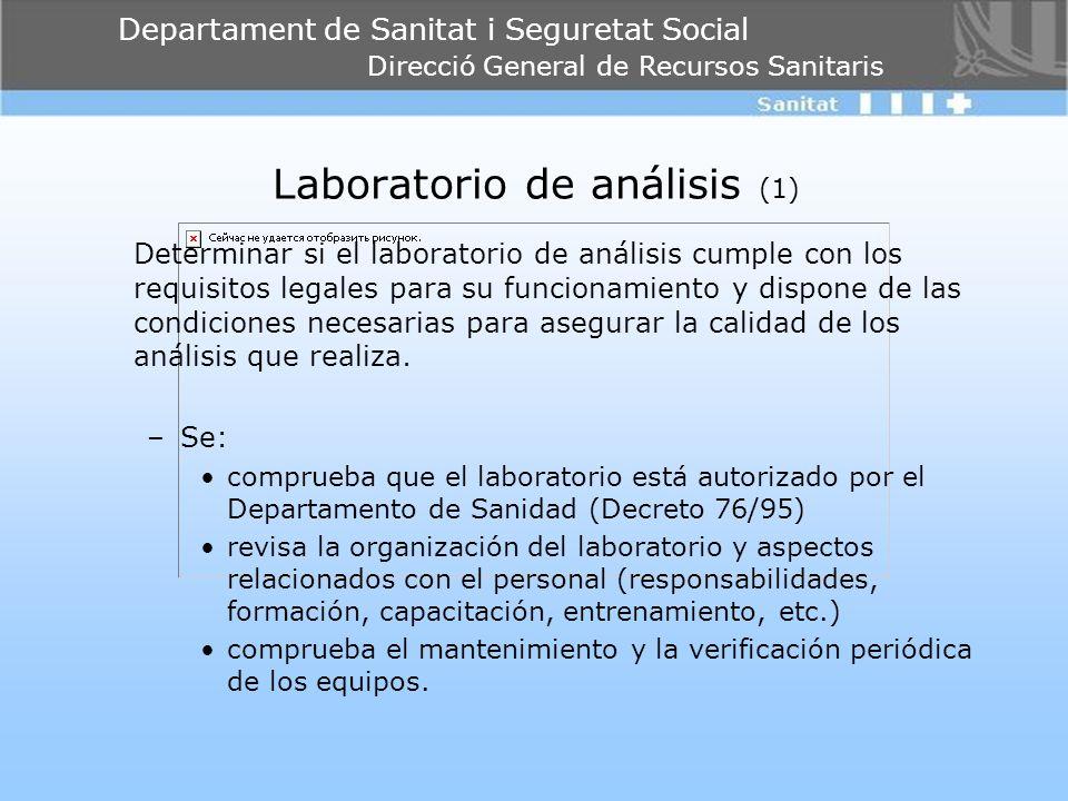 Departament de Sanitat i Seguretat Social Direcció General de Recursos Sanitaris Laboratorio de análisis (1) Determinar si el laboratorio de análisis