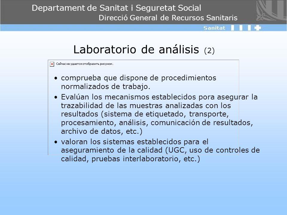Departament de Sanitat i Seguretat Social Direcció General de Recursos Sanitaris Laboratorio de análisis (2) comprueba que dispone de procedimientos n