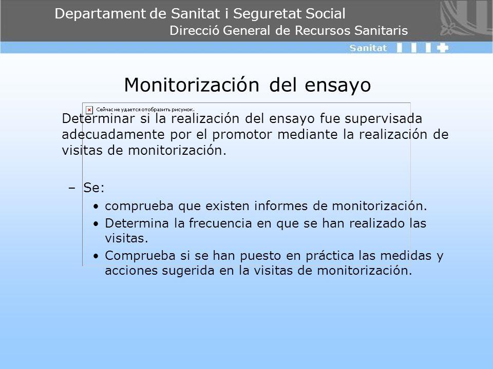 Departament de Sanitat i Seguretat Social Direcció General de Recursos Sanitaris Monitorización del ensayo Determinar si la realización del ensayo fue