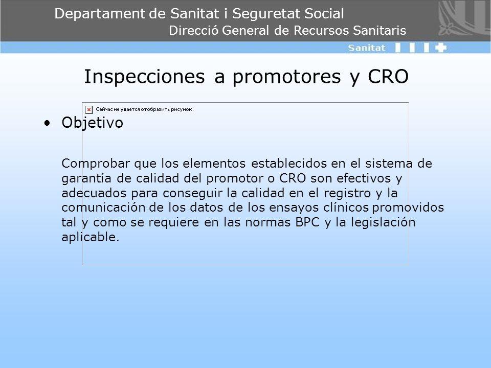 Departament de Sanitat i Seguretat Social Direcció General de Recursos Sanitaris Inspecciones a promotores y CRO Objetivo Comprobar que los elementos
