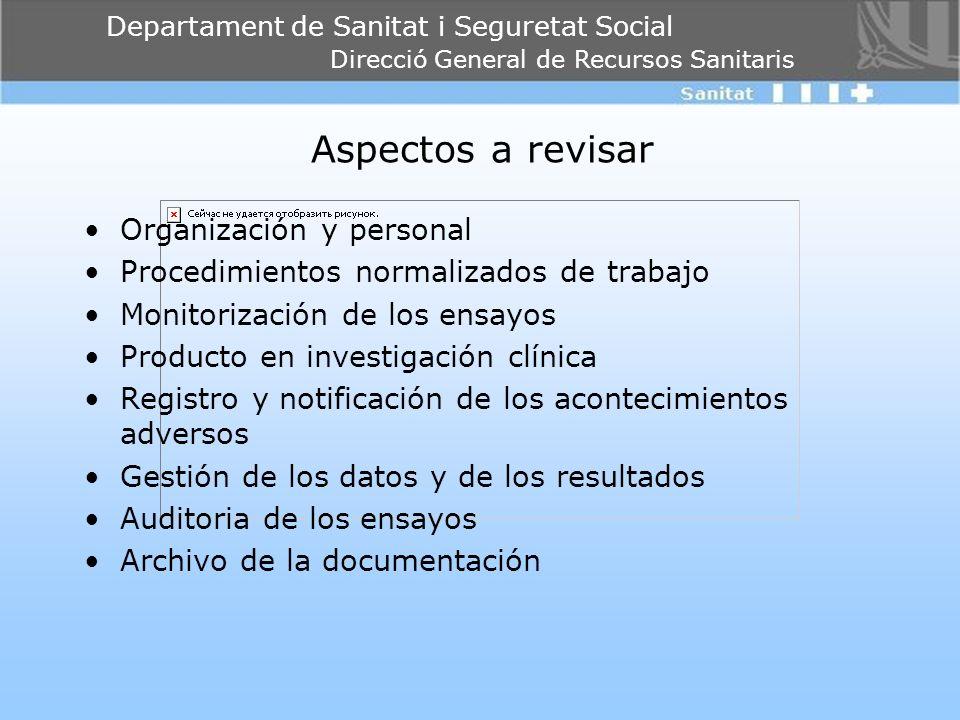 Departament de Sanitat i Seguretat Social Direcció General de Recursos Sanitaris Aspectos a revisar Organización y personal Procedimientos normalizado