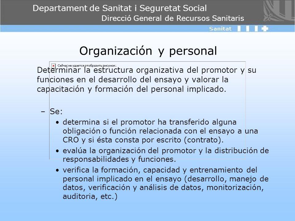 Departament de Sanitat i Seguretat Social Direcció General de Recursos Sanitaris Organización y personal Determinar la estructura organizativa del pro