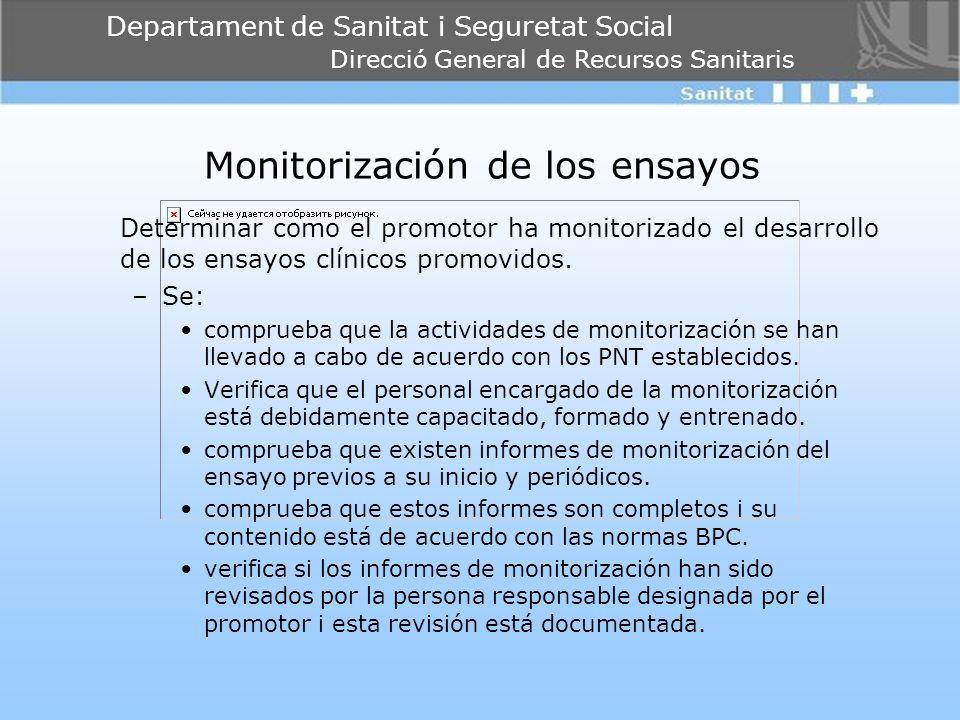Departament de Sanitat i Seguretat Social Direcció General de Recursos Sanitaris Monitorización de los ensayos Determinar como el promotor ha monitori