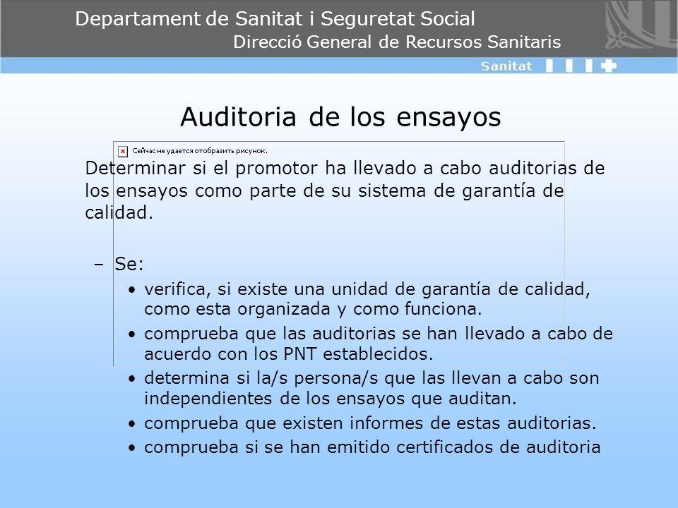 Departament de Sanitat i Seguretat Social Direcció General de Recursos Sanitaris Auditoria de los ensayos Determinar si el promotor ha llevado a cabo