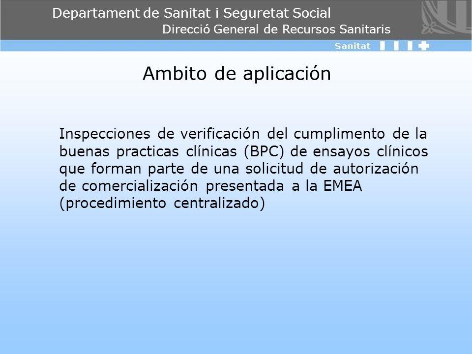 Departament de Sanitat i Seguretat Social Direcció General de Recursos Sanitaris Ambito de aplicación Inspecciones de verificación del cumplimento de