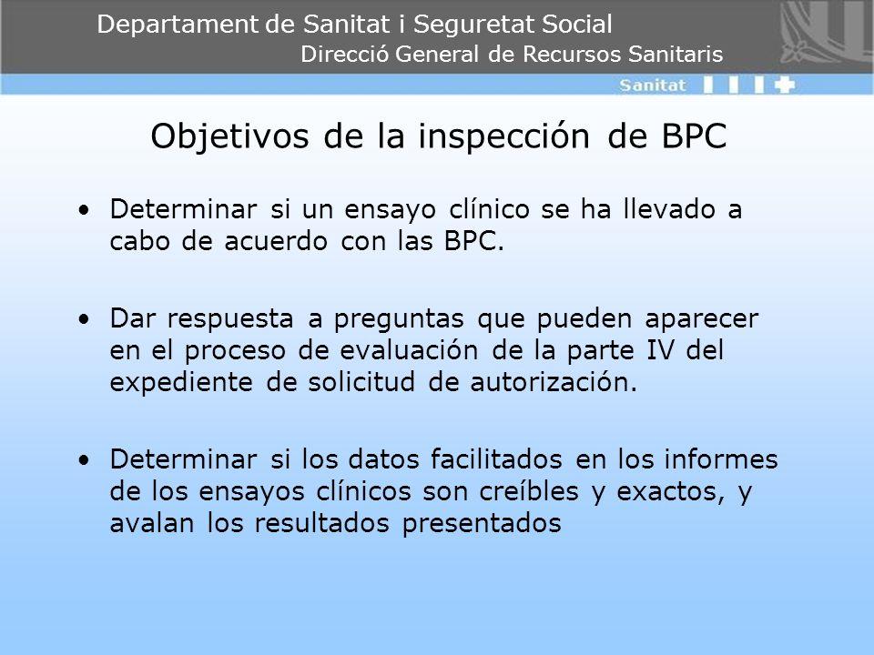 Departament de Sanitat i Seguretat Social Direcció General de Recursos Sanitaris Objetivos de la inspección de BPC Determinar si un ensayo clínico se