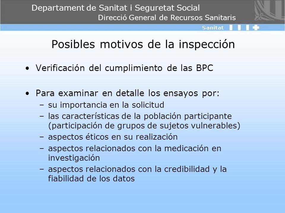 Departament de Sanitat i Seguretat Social Direcció General de Recursos Sanitaris Posibles motivos de la inspección Verificación del cumplimiento de la