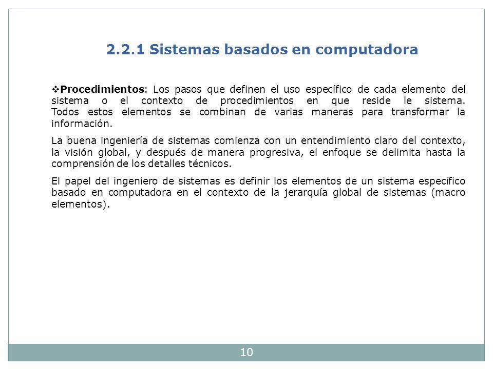10 2.2.1 Sistemas basados en computadora Procedimientos: Los pasos que definen el uso específico de cada elemento del sistema o el contexto de procedi