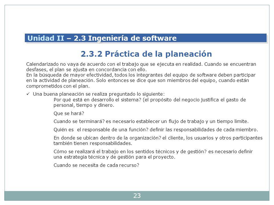 23 Unidad II – 2.3 Ingeniería de software 2.3.2 Práctica de la planeación Calendarizado no vaya de acuerdo con el trabajo que se ejecuta en realidad.