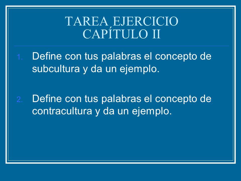 TAREA EJERCICIO CAPÍTULO II 1. Define con tus palabras el concepto de subcultura y da un ejemplo. 2. Define con tus palabras el concepto de contracult