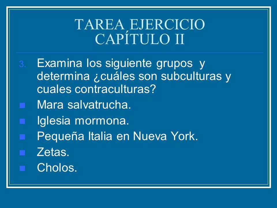 TAREA EJERCICIO CAPÍTULO II 3. Examina los siguiente grupos y determina ¿cuáles son subculturas y cuales contraculturas? Mara salvatrucha. Iglesia mor