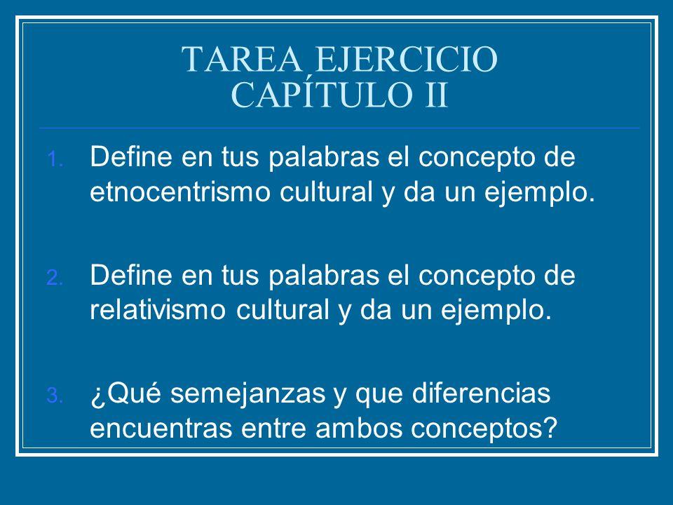 TAREA EJERCICIO CAPÍTULO II 1. Define en tus palabras el concepto de etnocentrismo cultural y da un ejemplo. 2. Define en tus palabras el concepto de