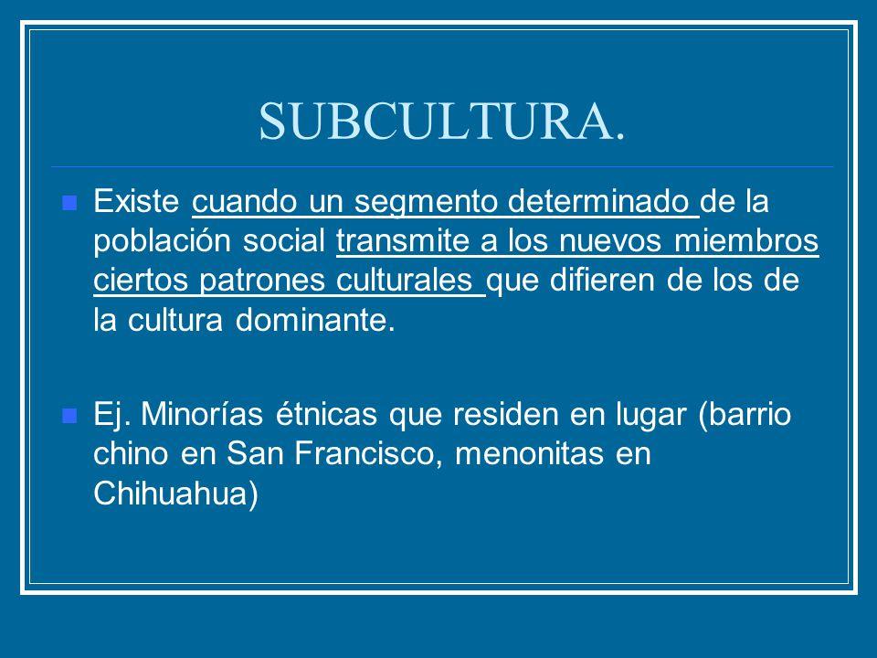 SUBCULTURA. Existe cuando un segmento determinado de la población social transmite a los nuevos miembros ciertos patrones culturales que difieren de l