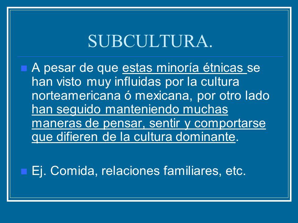 SUBCULTURA. A pesar de que estas minoría étnicas se han visto muy influidas por la cultura norteamericana ó mexicana, por otro lado han seguido manten