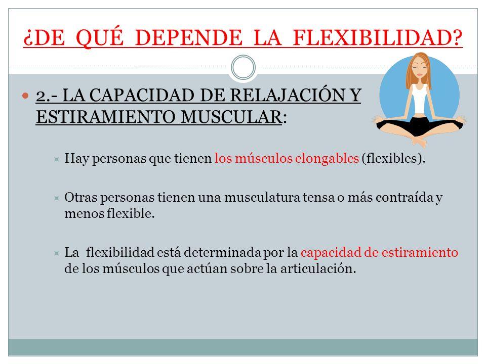 ¿DE QUÉ DEPENDE LA FLEXIBILIDAD? 2.- LA CAPACIDAD DE RELAJACIÓN Y ESTIRAMIENTO MUSCULAR: Hay personas que tienen los músculos elongables (flexibles).