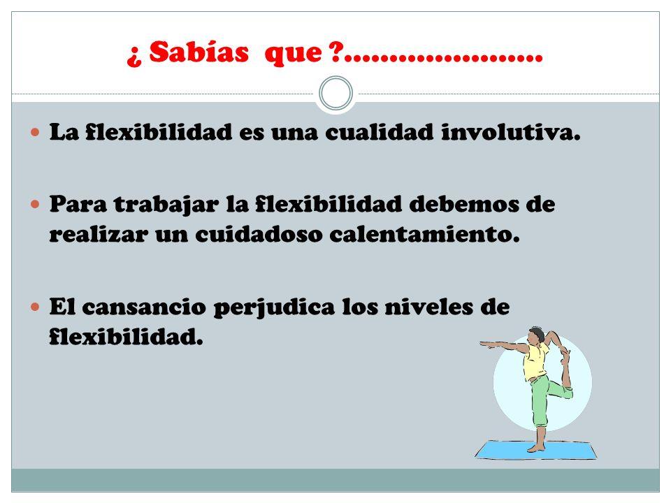 ¿ Sabías que ?...................... La flexibilidad es una cualidad involutiva. Para trabajar la flexibilidad debemos de realizar un cuidadoso calent