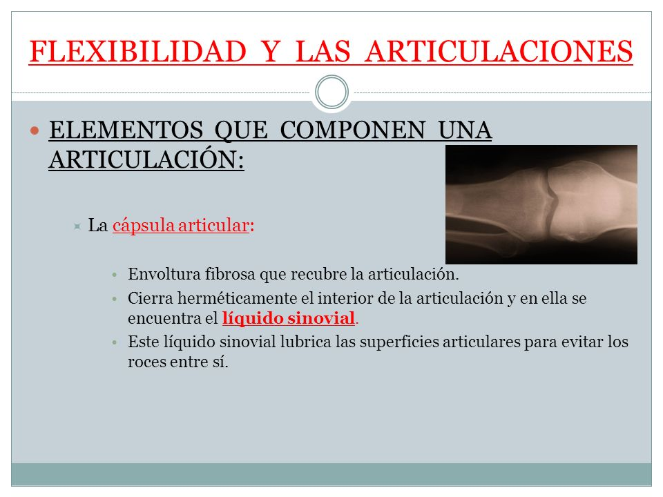 FLEXIBILIDAD Y LAS ARTICULACIONES ELEMENTOS QUE COMPONEN UNA ARTICULACIÓN: La cápsula articular: Envoltura fibrosa que recubre la articulación. Cierra