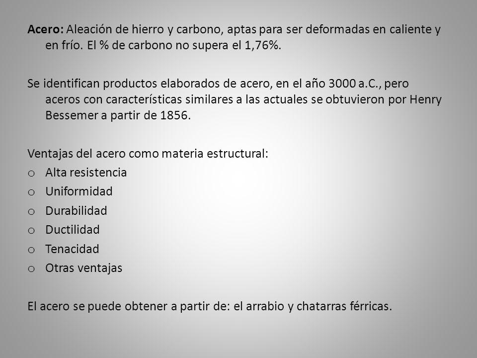 Acero: Aleación de hierro y carbono, aptas para ser deformadas en caliente y en frío. El % de carbono no supera el 1,76%. Se identifican productos ela