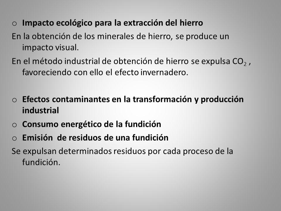 o Impacto ecológico para la extracción del hierro En la obtención de los minerales de hierro, se produce un impacto visual. En el método industrial de