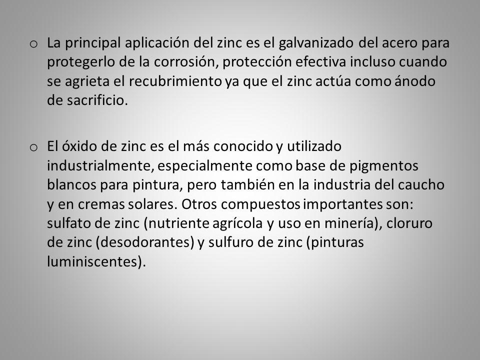 o La principal aplicación del zinc es el galvanizado del acero para protegerlo de la corrosión, protección efectiva incluso cuando se agrieta el recub