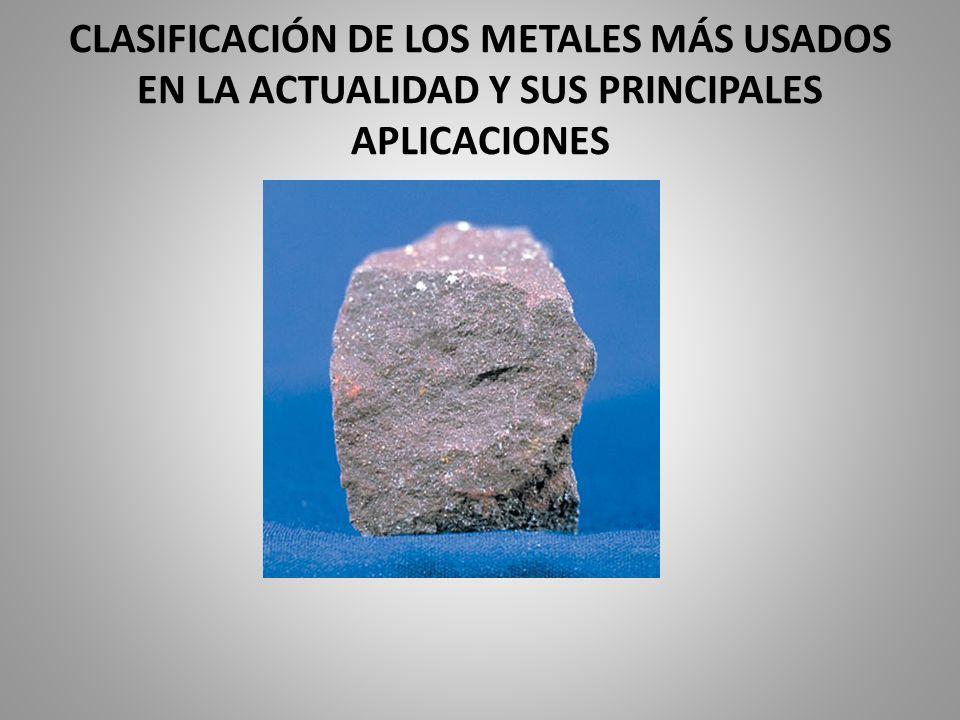 CLASIFICACIÓN DE LOS METALES MÁS USADOS EN LA ACTUALIDAD Y SUS PRINCIPALES APLICACIONES